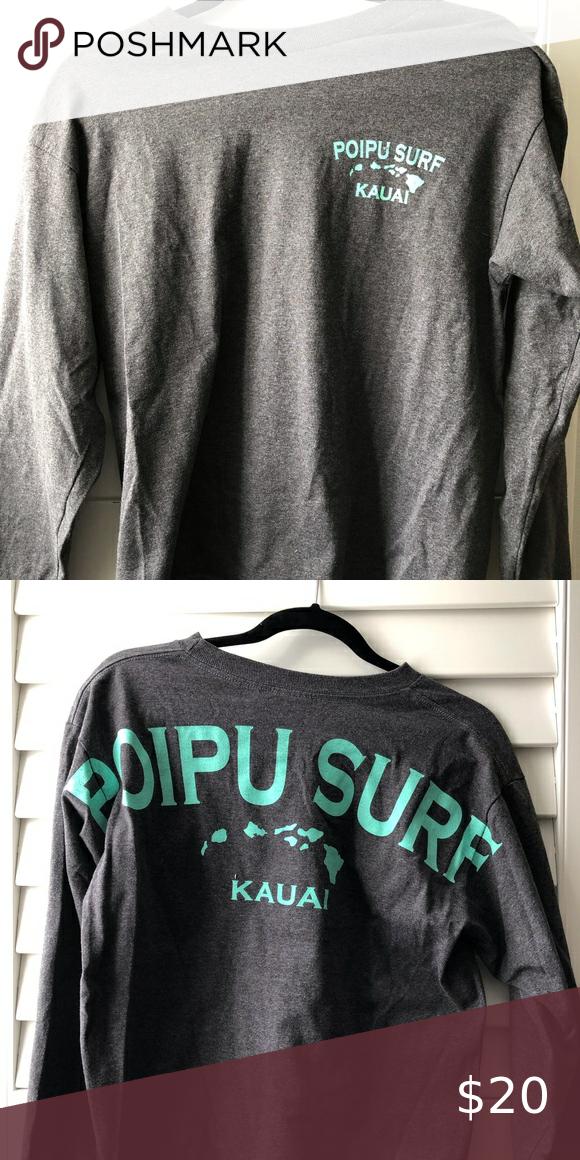 Poipu Surf Kauai T Shirt Long Sleeve T Shirt Cotton Good Condition Tops Tees Long Sleeve In 2020 Shirts Long Sleeve Shirts T Shirt
