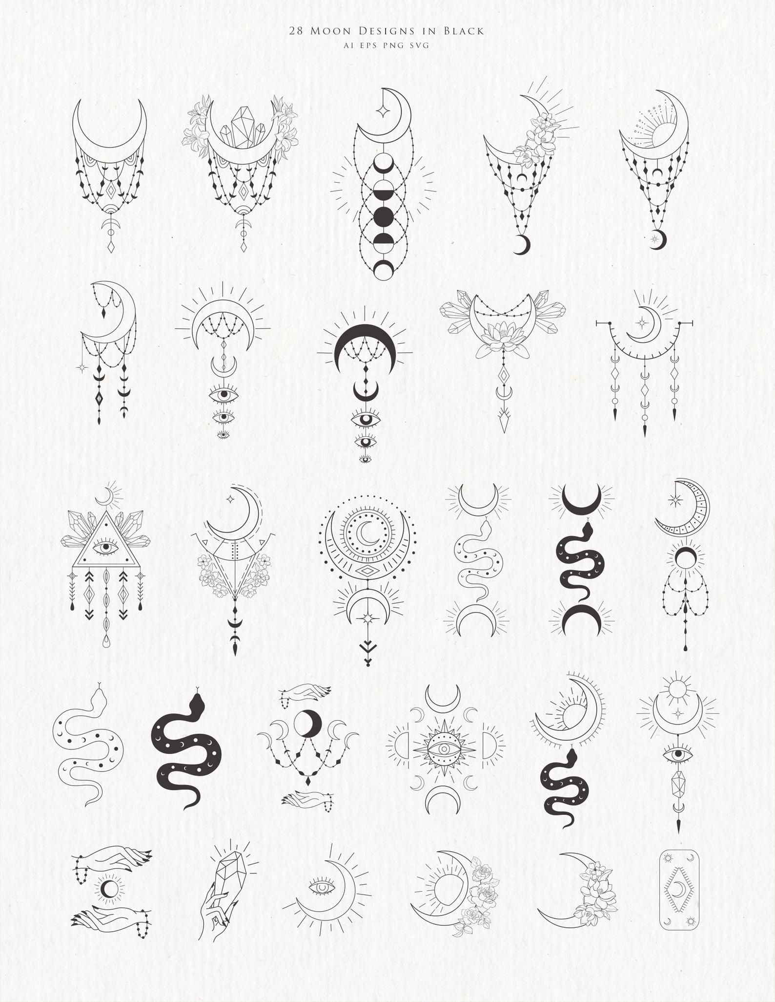 Moon Clipart Crystal Phases Botanical Floral Cresc