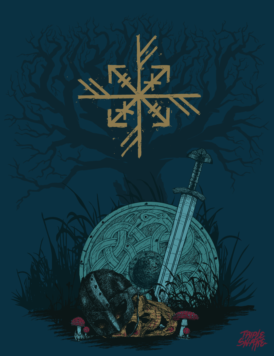 I have a penchant for Vikings and Norse mythology. I also do enjoy designing bindrunes like the one features in this graphic. Entirely drawn within Adobe Illustrator using a Wacom tablet.#illustration#viking#illustrator #vintage #retro #norseman #cg #digitalillustration #death #rune #posterart #norse#graphicdesign #tshirtdesign #vector#skull #vectorart #vector#vectorillustration#adobeillustrator#illustration#sigil #sigilmagick #bindrune #retro #albumcover #albumcoverdesign #design…