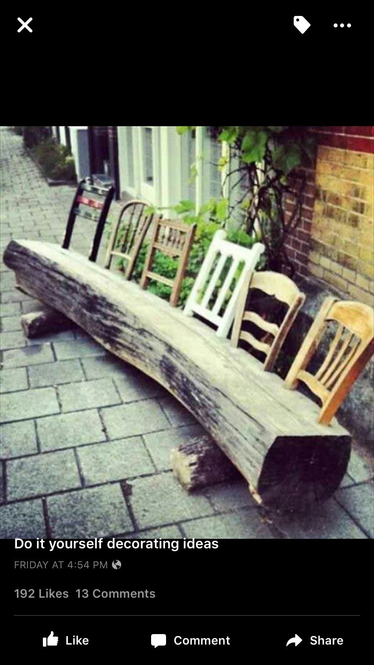Elegant Chair Backs In A Flattened Log For Seating