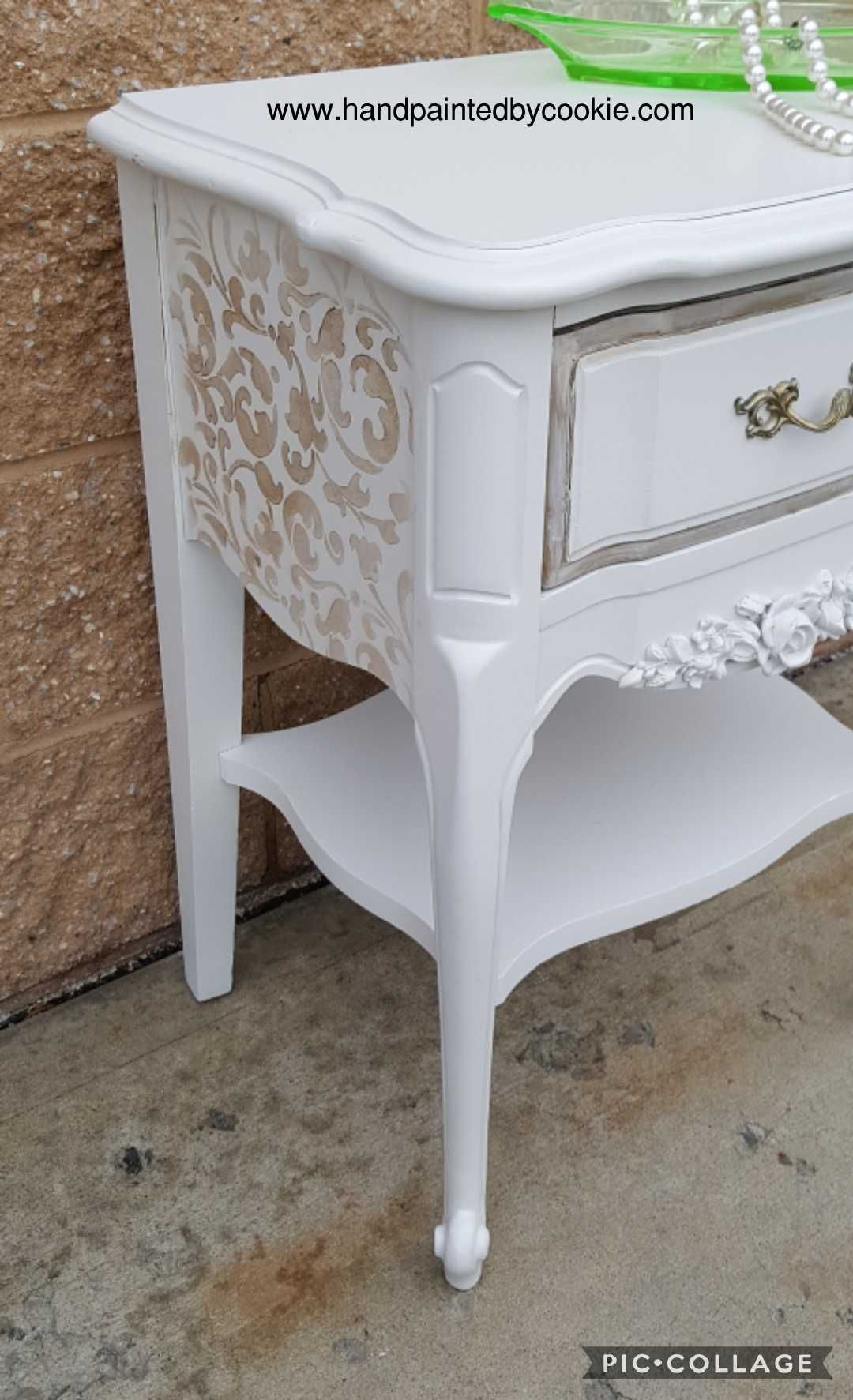 Vintage Painted Metallic Table Nightstand Bedroom Painted In