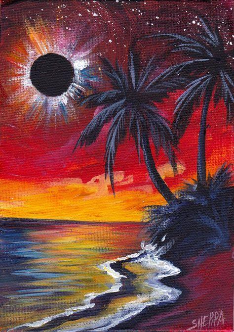 Resultado De Imagen Para Como Pintar Un Eclipse En Lienzo Pinturas Abstractas Arte En Lienzo Abstracto