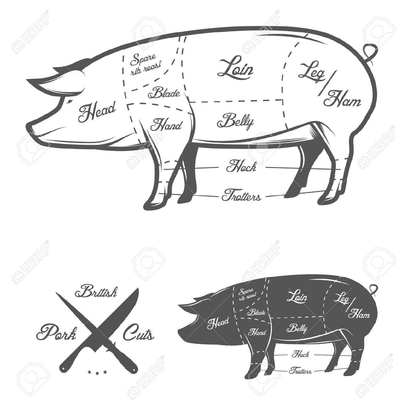 hight resolution of pig butcher drawing google search