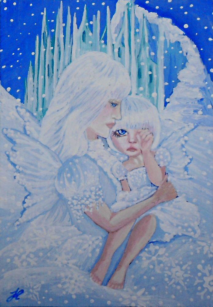 Aceo original mini painting J Restrepo WINTER FAIRIES fantasy art #Realism