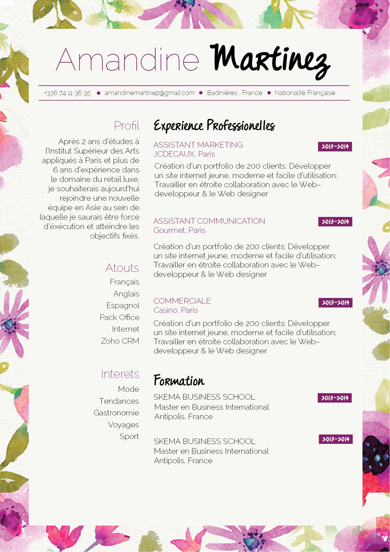 cv printanier pour un cv original  et rebooster vos candidature  frais  simple u2026