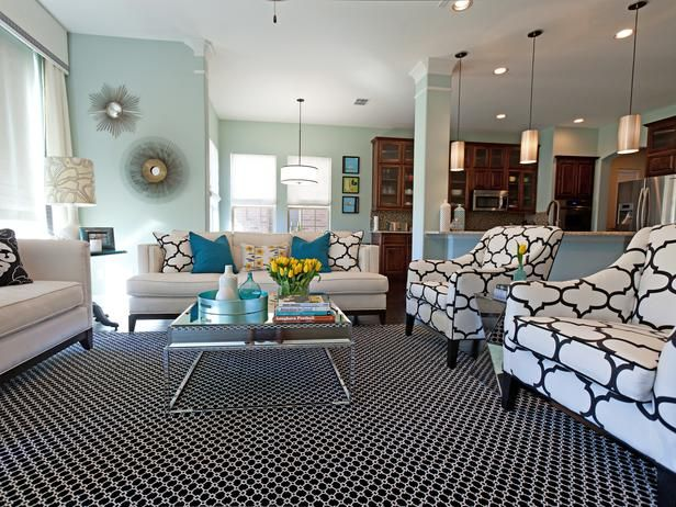 Black White And Powder Blue By Abbe Fenimore 20 Living Room Color Palettes You Ve Never Tried On Hgtv Jeanine Hays