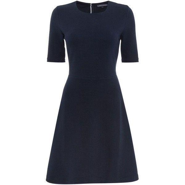 Tommy Hilfiger Fraya Fit and Flared Dress (3 865 UAH) ❤ liked on Polyvore featuring dresses, navy, women, navy blue cotton dress, tommy hilfiger, fitted navy dress, cotton dresses and navy fit and flare dress