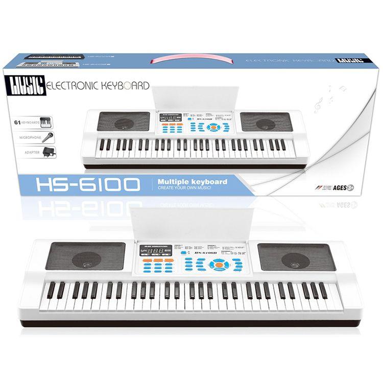 61 Keys Electronic Keyboard White Color LED Display HS 6100B