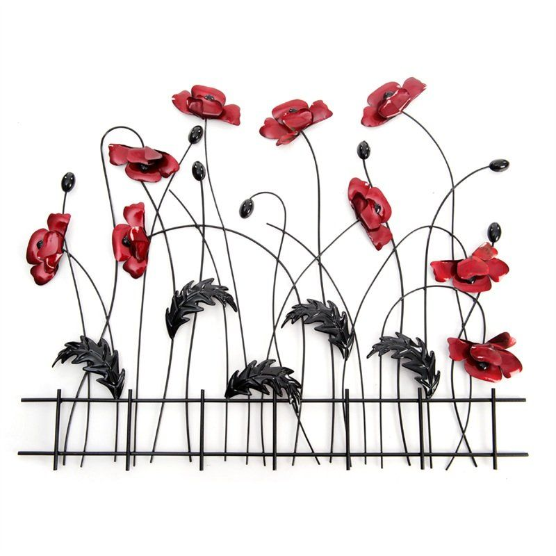 Metal Wall Art Flowers metal wall art - poppy flower fence | metal art | pinterest