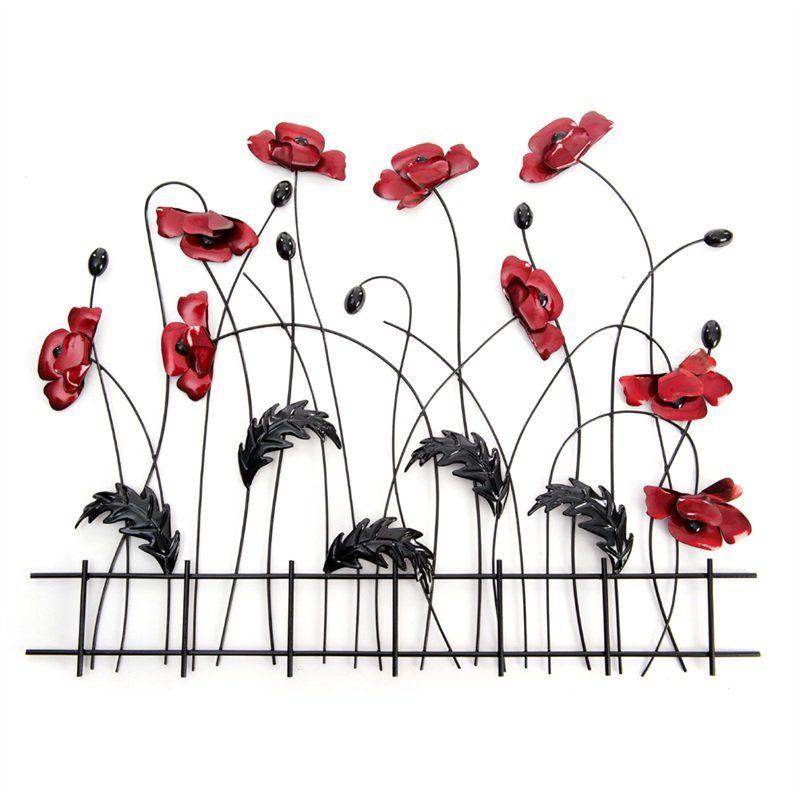Metal Wall Art Flowers metal wall art - poppy flower fence   metal art   pinterest