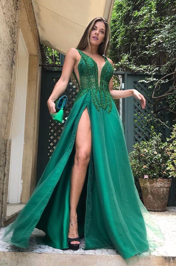 Vestido de festa com transparência nas pernas: 35 longos! em