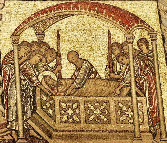Firenze. L'histoire de Jean-Baptiste. Dôme côté Nord-Est-Sud. 13. Les disciples de Jean-Baptiste arrivent à récupérer la tête de Jean-Baptiste et à l'enterrer dignement.