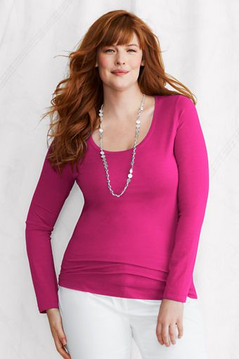 Women's Long Sleeve Lightweight Cotton Modal Scoop Top from Lands' End