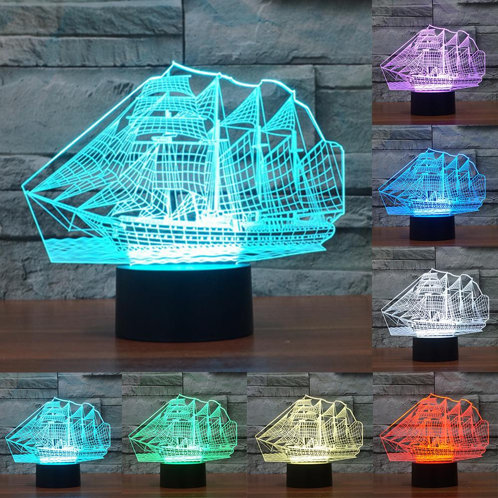 Sailboat 3d Illusion Led Lamp 3d Illusions Night Light Anime Merchandise