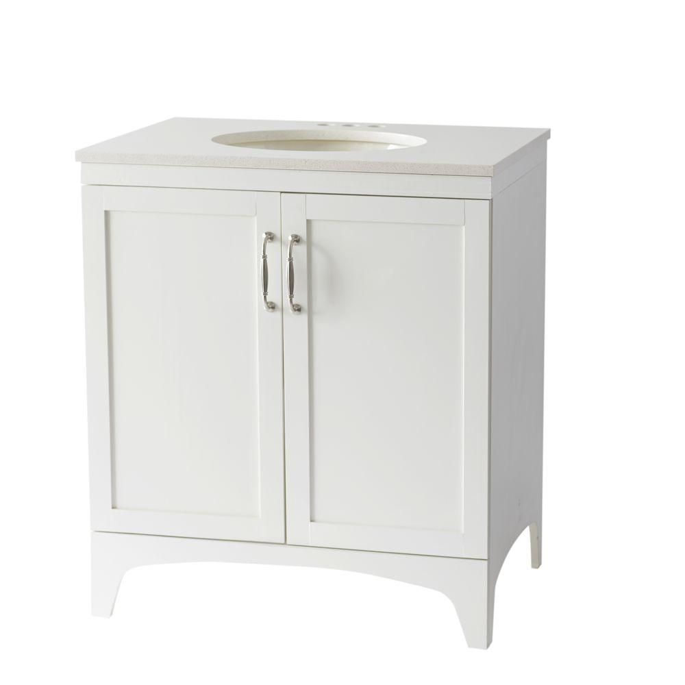 Mayworth 30 In Vanity In Ivory With Quartz Vanity Top In White Birch Forest D11230 0140b The Home Depot Quartz Vanity Tops Vanity Great Bathrooms