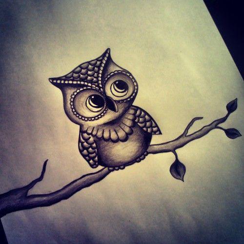 Cute owl love drawing