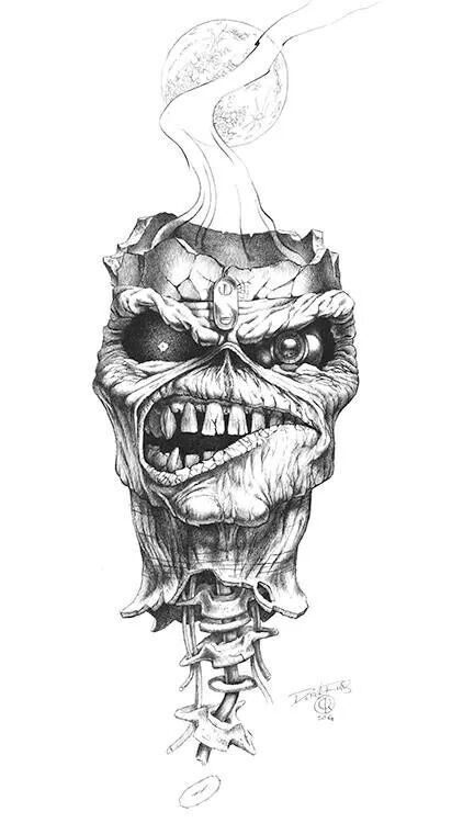 Derek Riggs Drawing Floating Ed Head Iron Fuckin Maiden
