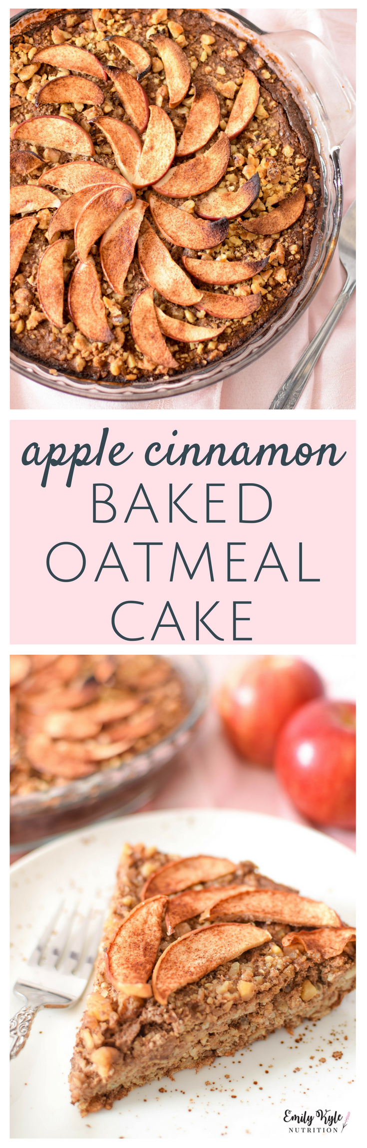 Spice up your breakfast routine with this simple. whole-food, nutrient dense Apple & Cinnamon Baked Oatmeal Cake! via @EmKyleNutrition