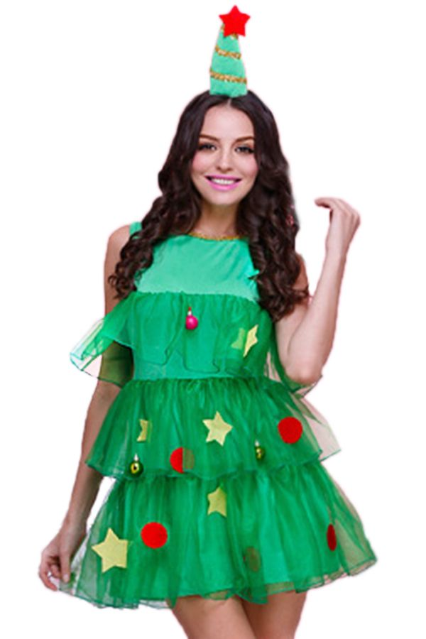 Green Cute Womens Christmas Tree Pleated Elf Santa Helper Costume pinkqueen.com  sc 1 st  Pinterest : christmas costumes diy  - Germanpascual.Com