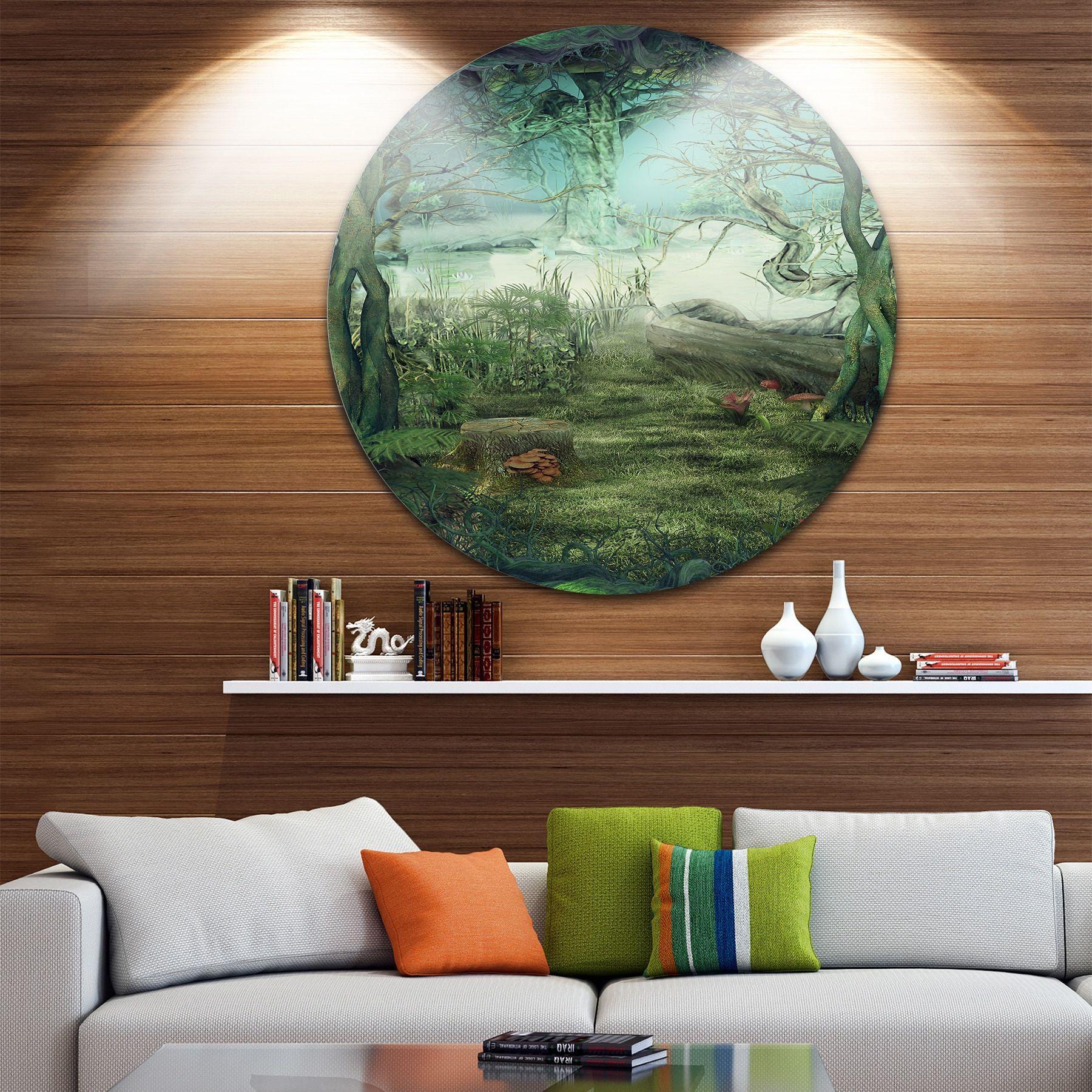 Designart ' Forest Glade' Landscape Art Round Wall Art