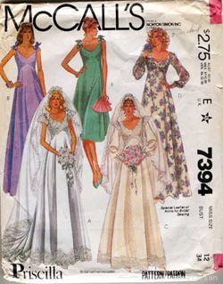 McCalls 7394 Vintage 1980s Empire Wedding Dress Pattern B34 ...