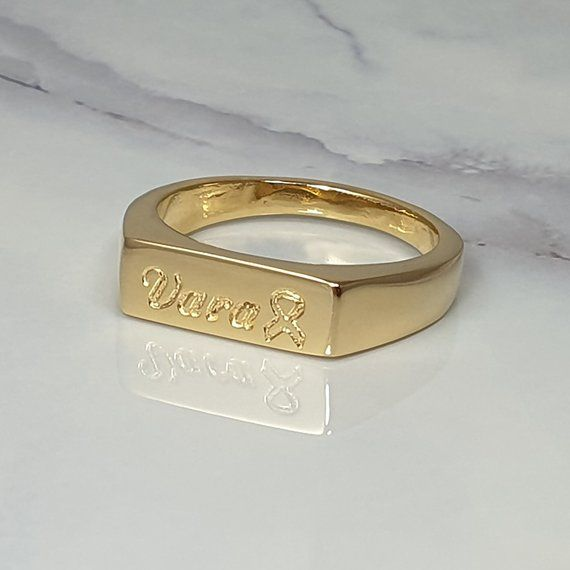 Gold engraved signet ring for women with name & ca