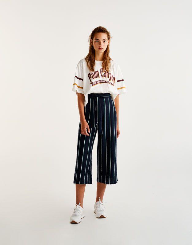 b4d9d1b95ae9ab Jupe-culotte rayures couleurs nœud - Nouveautés - Femme - PULL&BEAR ...