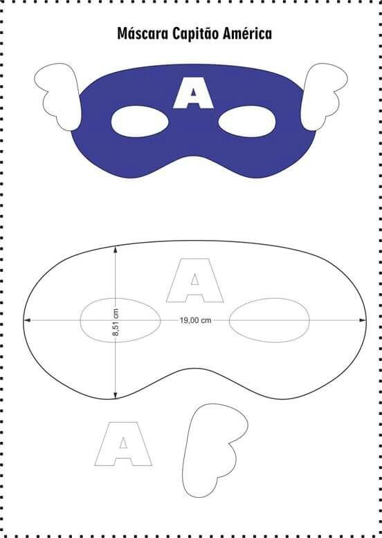 Máscara Capitão América | arte | Pinterest | Moldes, Capitán américa ...