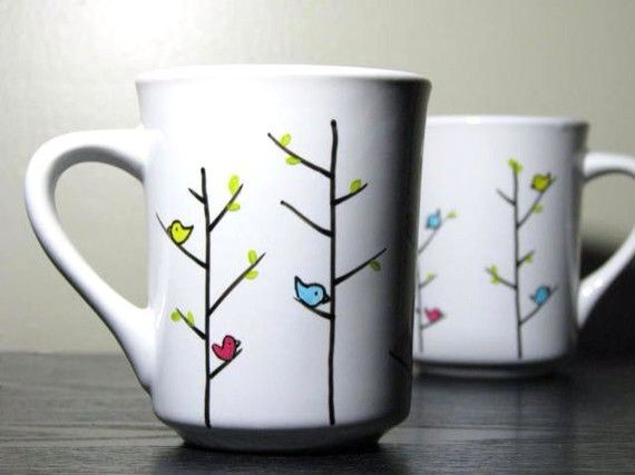 Easy Bird Hand Painted Pottery Idea Hand Painted Mugs Hand Painted Pottery Painted Mugs