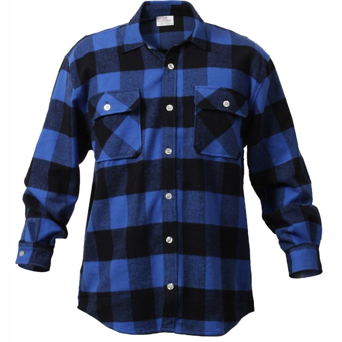 Blue / Black - Buffalo sọc ca rô tắm Heavyweight Brawny Flannel Shirt