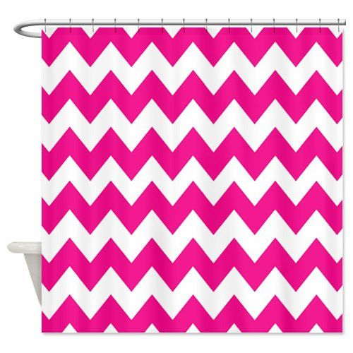 Bright Pink Chevron Shower Curtain Pinkchevronshowercurtainglam