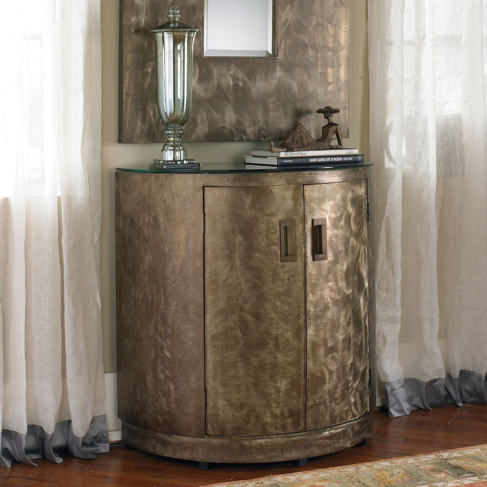 Cabinet Antiqued Half Round Accent Console Side Table Storage ...