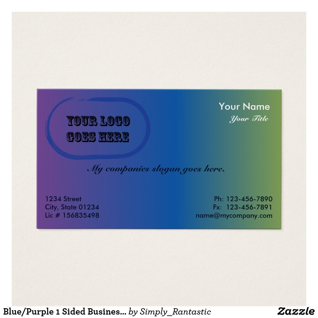 bluepurple 1 sided business card template v2