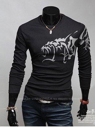 Dragon Tattoo Design Long Sleeve Shirt Long Sleeve Tshirt Men Mens Hottest Fashion Tattoo T Shirts