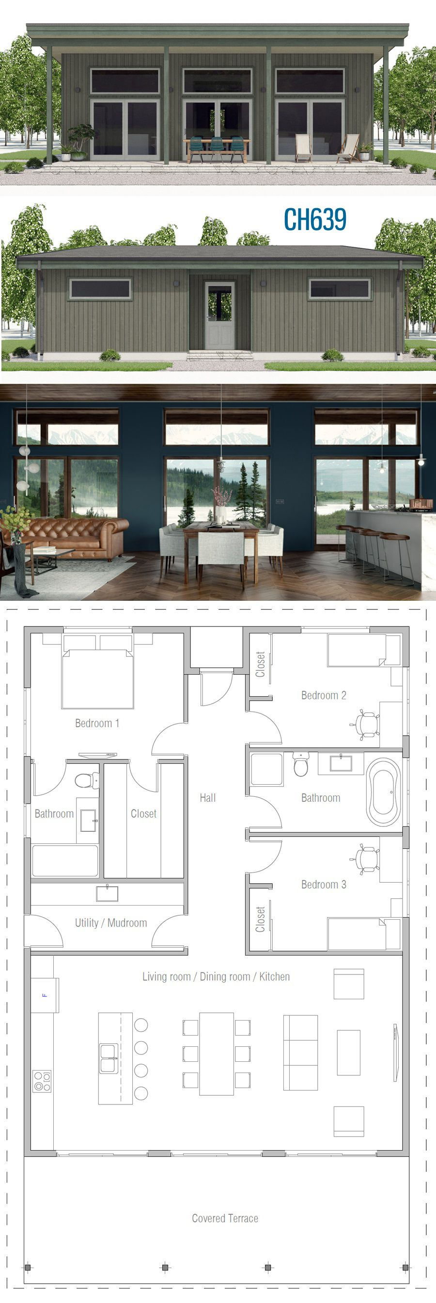 House Plan Ch639 House Plans House Design Small Modern House Plans