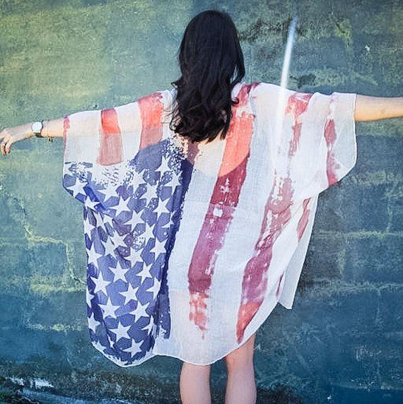 00d5859bf4b88 Oversized American Flag Kimono Festival Clothing Boho Style Summer Kimono  Cardigan LIMITED
