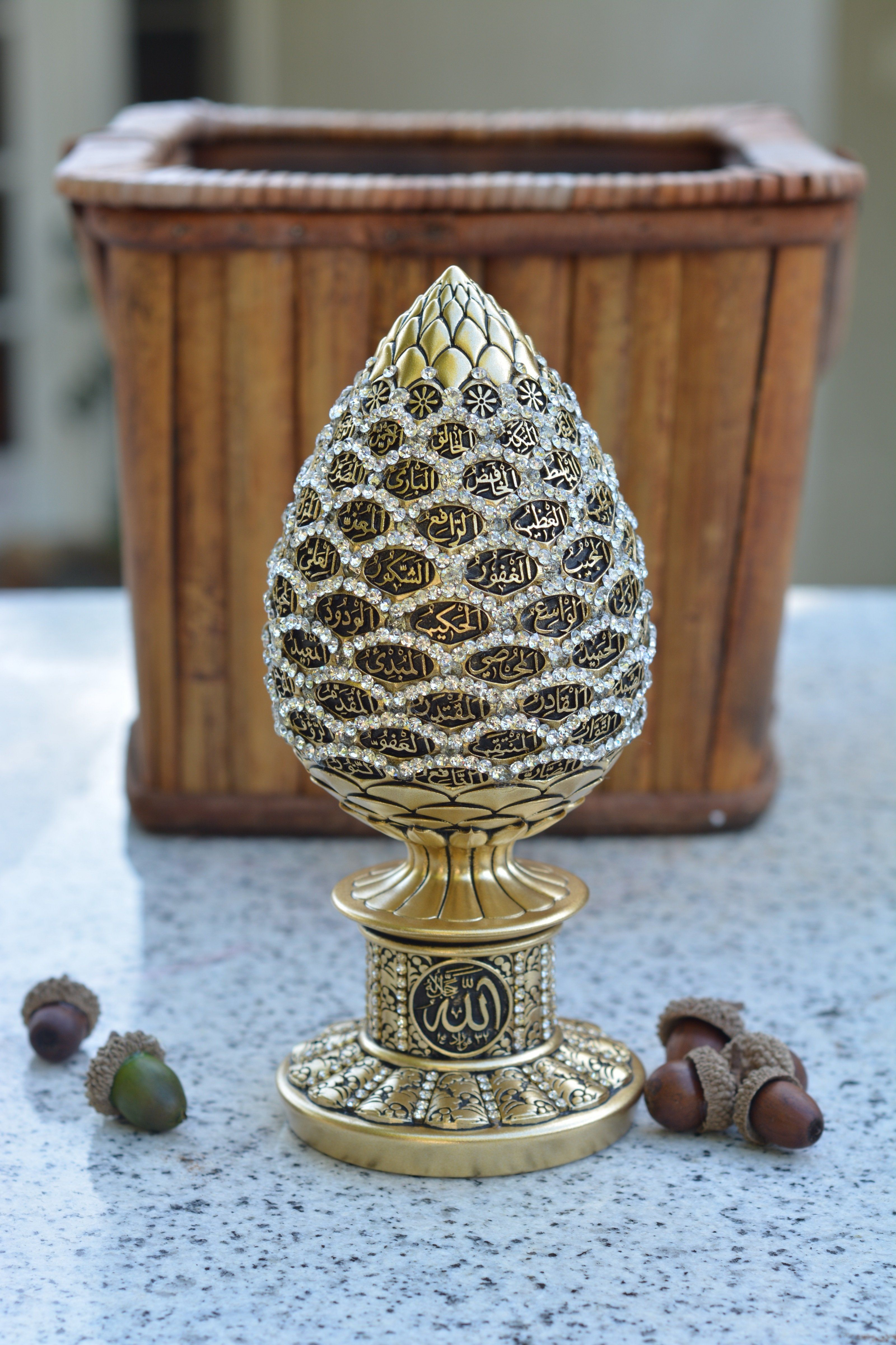 Crystal Rosebud with Asmaul Husna (99 Names Of Allah) in