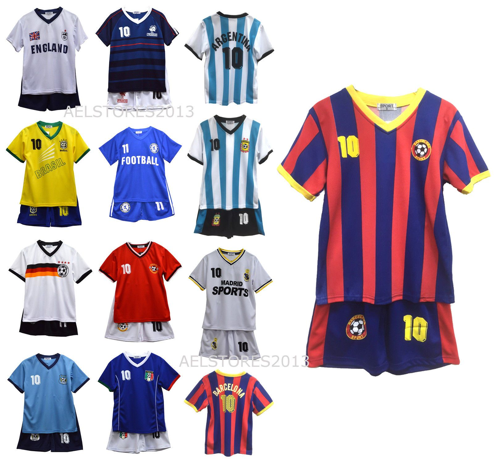 Football Set T-Shirt Shorts Kit Top Vest Summer Boys New Girls Age 2-12 Years