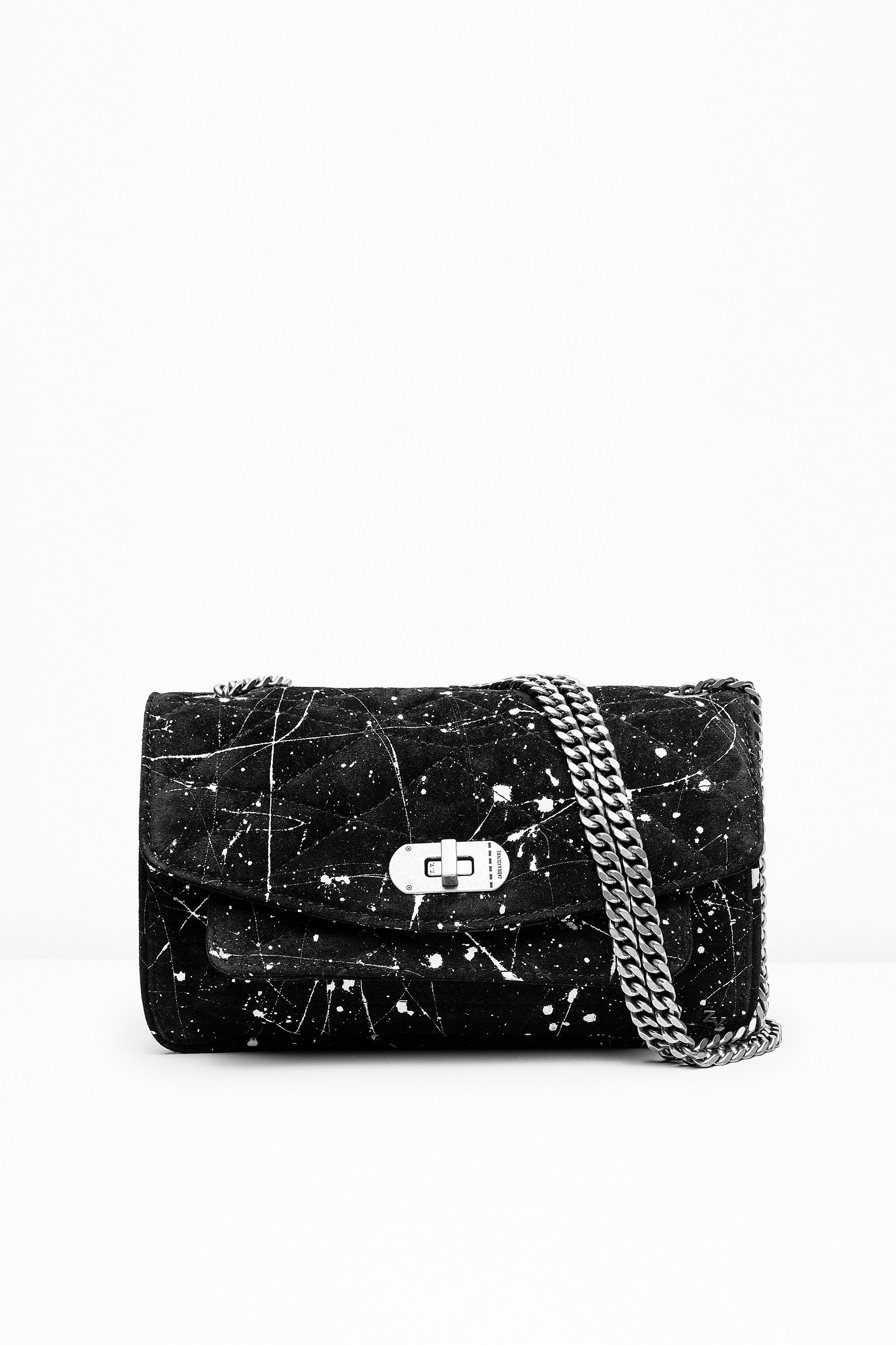 """bb317094597c Zadig & Voltaire bag, chain strap, can be worn cross body or on the  shoulder, ZV rivet and military clasp, engraved eyelets,  6.5x18x26cm/2.3x7x10.2"""", ..."""