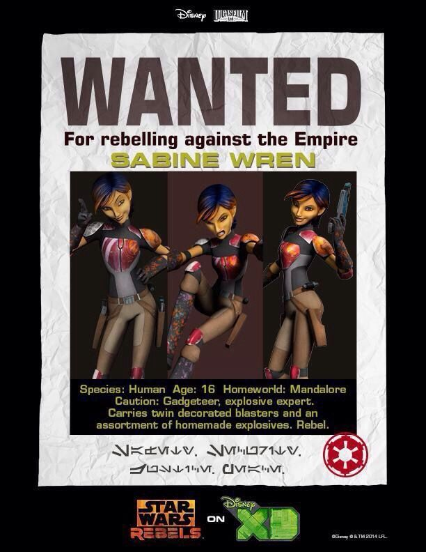 Sabine Wren wanted poster.