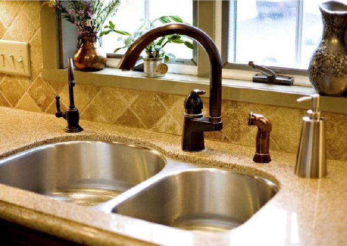 bronze kitchen faucet with stainless sink | Home decor | Pinterest ...