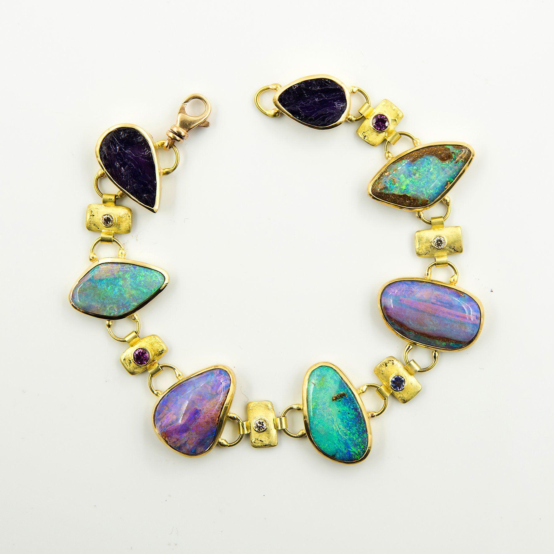 Australian Boulder Opal Opal In Petrified Wood Bracelet Opal