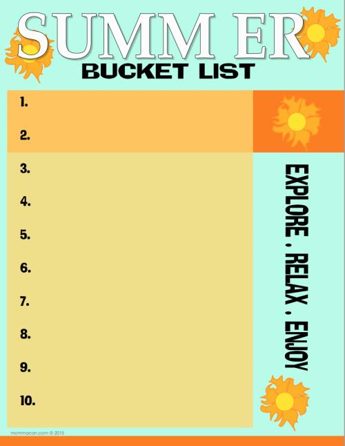 Free Printable PDF Summe Bucket List Mommcanc.on