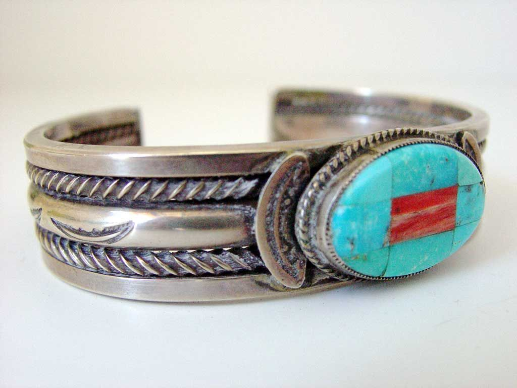 Benny Aldrich Silver Inlaid Stone Bracelet | Kilgore American Indian Art