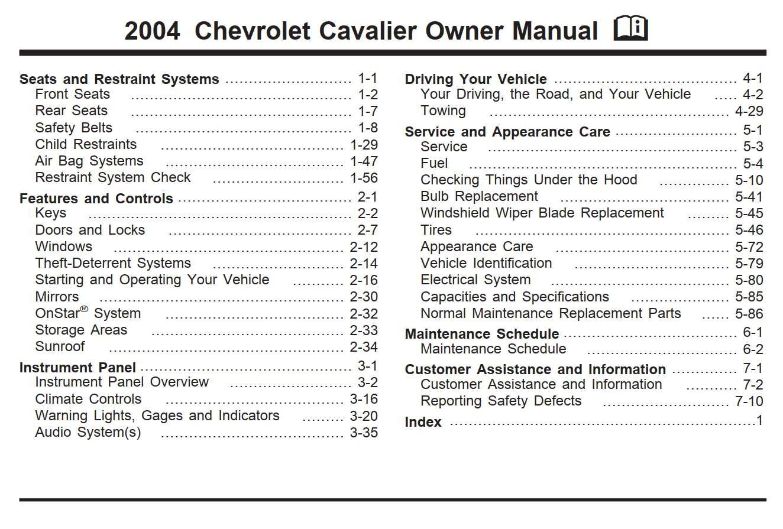 Chevrolet Cavalier 2004 Owner S Manual Has Been Published On Procarmanuals Com Https Procarmanuals Com Chevro Owners Manuals Chevrolet Aveo Chevrolet Venture