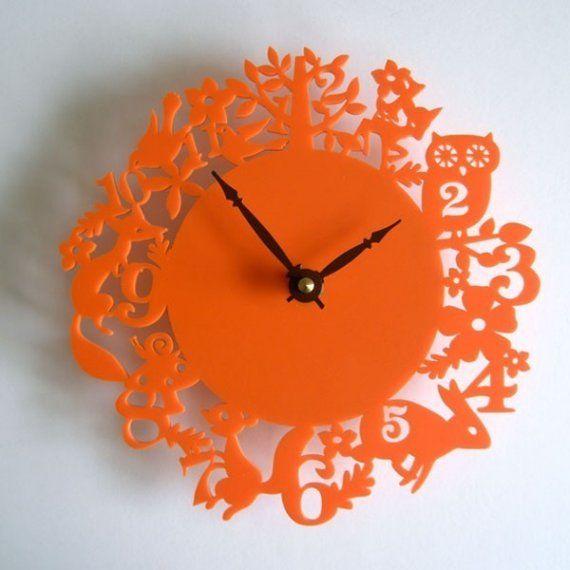 Modern Wall Clock It S My Forest Orange Acrylic By Decoylab