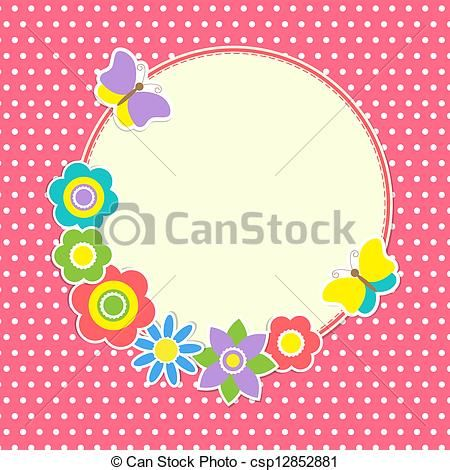 Round frame with colorful flowers and butterflies - csp12852881
