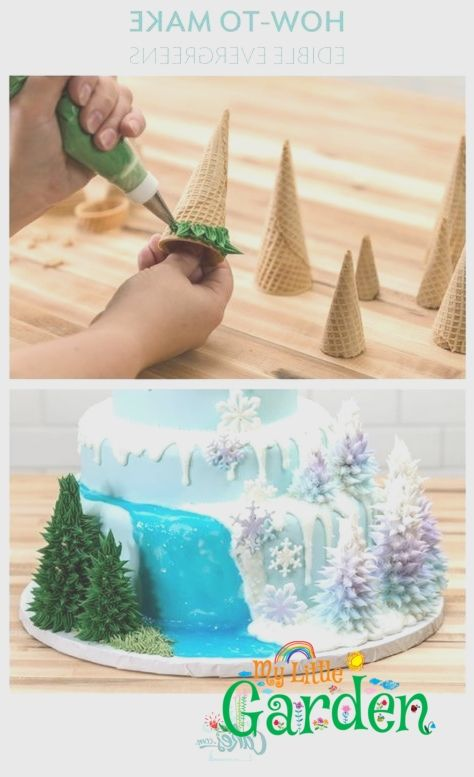 Make edible trees with icing for a winter or Frozen cake. - Make edible trees with icing for a winter or Frozen cake. -