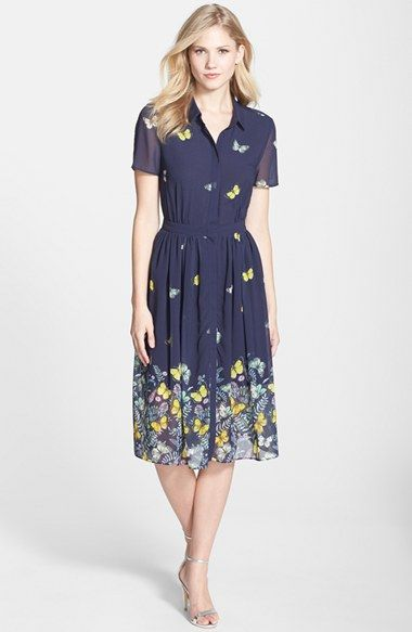 8343cfc6440 ERIN erin fetherston  Butterfly  Print Fit   Flare Shirtdress available at   Nordstrom Mariposas