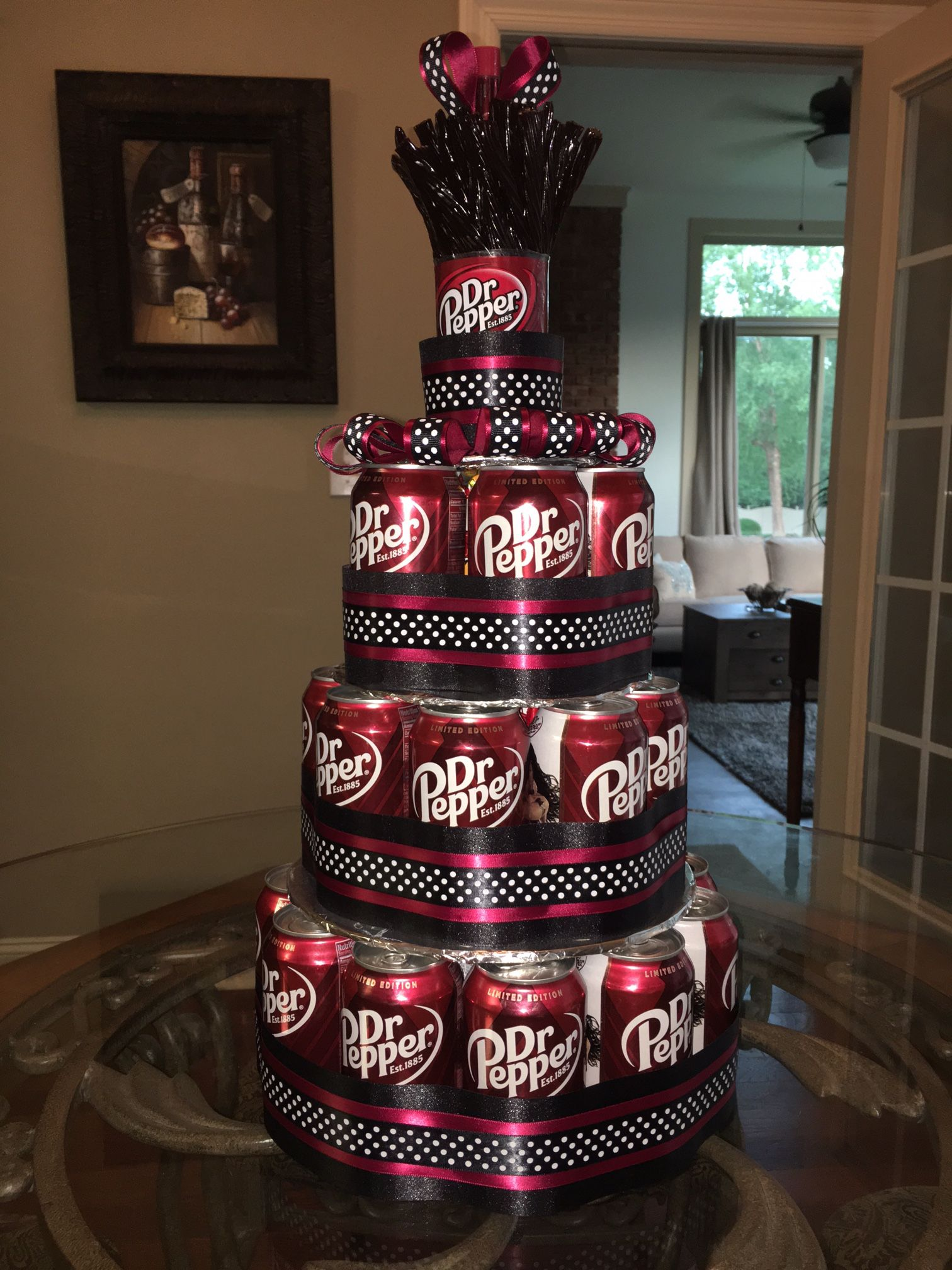 "Dr Pepper can cake with Dr Pepper Twizzlers on top. ""Cake ..."